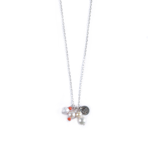 Collier Penelope argent orange corail