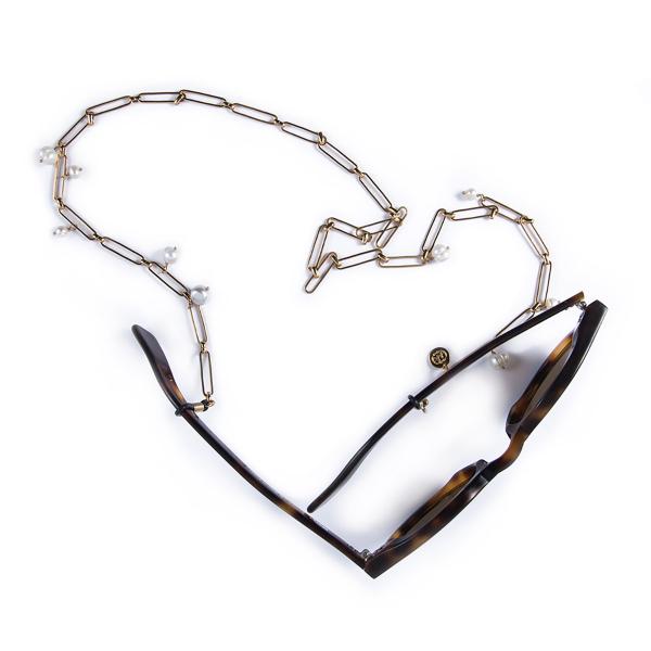 Attache lunettes VÉRONIQUE perlé plaqué or