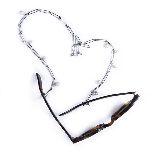 Attache lunettes VÉRONIQUE perlé plaqué argent